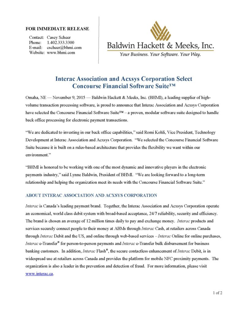 press releases Press Releases BHMI 2015 Interac and Acxsys Select Concourse 110915 Page 1 791x1024